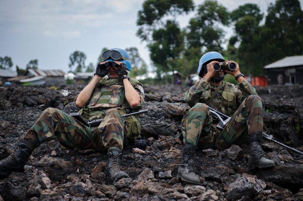 Uruguayan United Nations peacekeepers in the outskirts of Goma, DR Congo